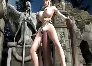3D goddess jumps on a real beast cock